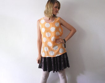 SALE...80s 90s slouch silk top. polka dot blouse. sleeveless silk top - small to medium