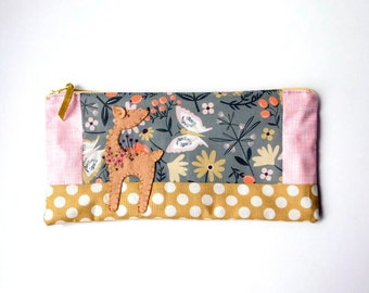 "Zipper Pouch, 5x10"" in green, pink, gold, coral, brown and cream flowers with Handmade Felt Deer Embellishment, Deer Zipper Pouch"