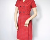 Vintage Dress and Jacket 1960's Women's Suit Red Plaid Sundress Bolero Jacket Size Small