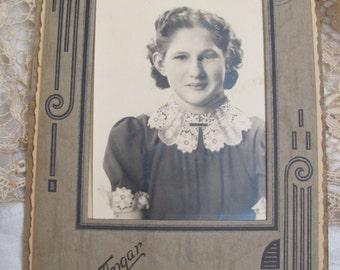 Antique Folding Cardboard Art Deco Frame Photograph Circa 1930s