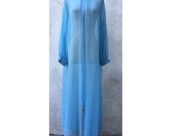 Chic vintage powder blue crepe long sheer robe with beading