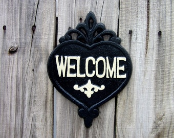 Welcome Sign, Cast Iron, Black, Ivory, Painted, Welcome Plaque, Door Welcome Sign, Ornate Welcome Plaque, Indoor, Outdoor, Welcome