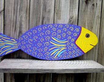 Painted Fish, Wood Fish, Tropical Fish, Purple, Yellow, Turquoise, Sea Decor, Colorful Fish, Beach Decor, Nautical Decor, Hand Painted