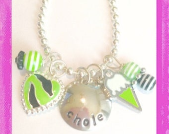 Girls Necklace -Jewelry for Kids - Hand Stamped and Personalized Sweet ZEBRA Necklace for Children #Q4