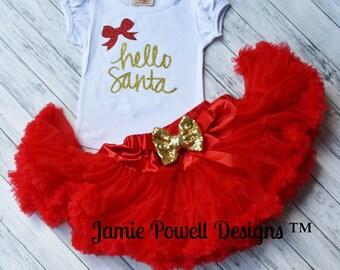 Girls Christmas Shirt-Hello Santa- Listing is shirt only- 1st Christmas Shirt