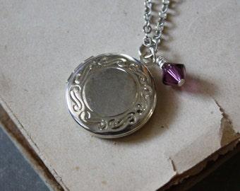 Birthstone Locket Round Silver Locket