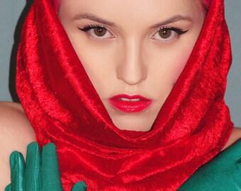 Handmade red velvet soft snood hood scarf - gift idea