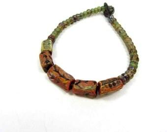 Leaf Square Beaded Bracelet, Glass and Ceramic Bead Bracelet - Handmade Artisan Ceramic Jewellery No. 98