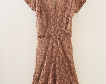 80's Tan Lace Dress