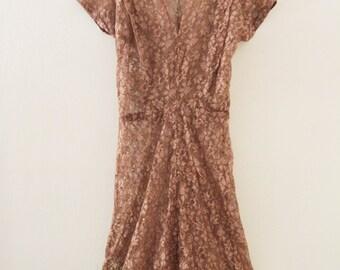 80's Tan Lace Dress