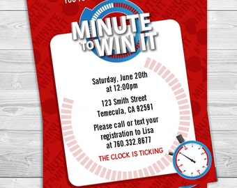 Minute To Win It - Birthday Party Invitation Professionally printed *or* DIY printable PDF