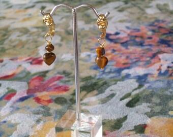 Tiger Eye Heart Clip Earrings