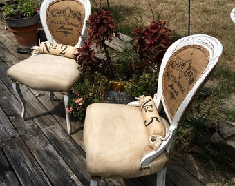Pair French Rustic Burlap Chairs