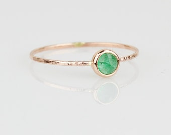 Select a Gold - Delicate Rose Cut Emerald 14k Ring - Solid 14k Gold - Rose or Yellow or White Gold - Simple and Dainty - May Birthstone Ring