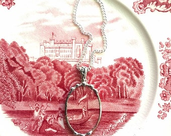 Broken china jewelry, Recycled china pendant necklace Antique English scenic man on boat transferware broken china jewelry