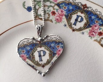Broken china jewelry necklace heart pendant antique P initial monogram made from antique china