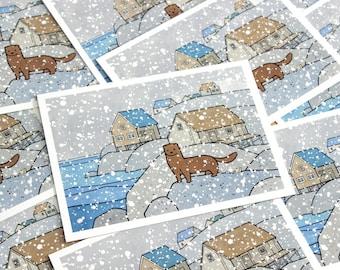 Mink and Snow Christmas Card Set