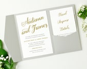 INSTANT DOWNLOAD   Printable Pocket Wedding Invitation   Romantic Script   Edit in Word or Pages   Print it Yourself   Mac & PC
