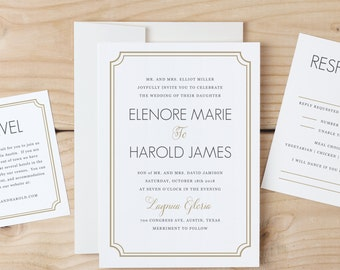 DOWNLOAD & Print Wedding Invitation Template | Classic Deco | Word or Pages | MAC or PC | Editable Artwork Colors