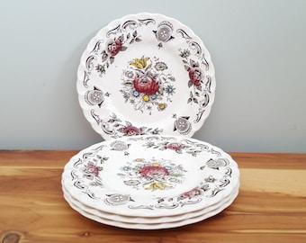 Four Myotts Bouquet English Transferwear Bread Plates