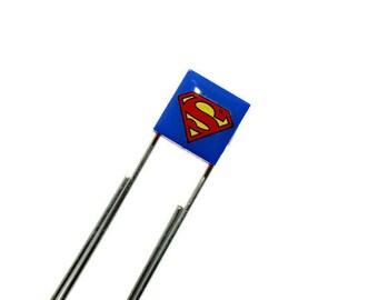 Geek Paperclip Bookmark made from  LEGO® Tile with Superhero Emblem, Superhero Bookmark