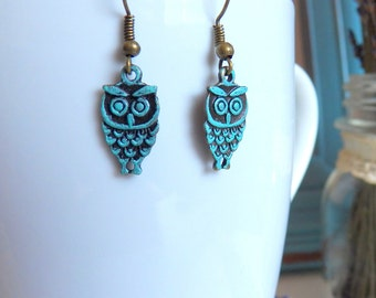 Adorable Owls Need A Home, Vintage Inspired, Petite Birds, Turquoise Blue Patina Brass Earrings, Women's Gift, Woodland Jewelry by HoneyNest