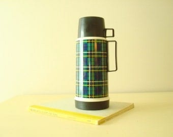 "Vintage Thermos, green & blue tartan plaid, 32-ounce flask, King-Seeley Canada, one-quart thermos ""food jar"", lunchbox, camping, football"