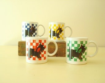 Scottie dog coffee mugs, set of 4 vintage coffee cups, red blue yellow green checks, made in Japan