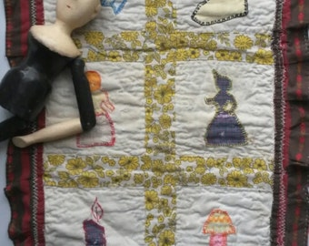 Old Vintage Doll Patchwork Quilt Probably Made by a Child - Hand Quilting and Appliqued Toy Doll Quilt