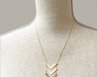 Gold Triple Chevron Mixed Metals Necklace Silver Rose Gold V Necklace