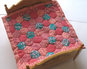 Dollhouse Miniature Patchwork Quilt in 12th Scale - Pink and Turquoise Hexagons