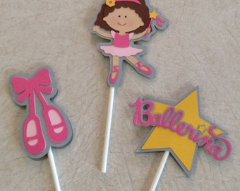 Ballerina Cupcake Toppers - birthday decorations, party supplies