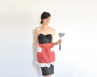 red cupid valentine apron . polka dots and sheer ruffle trim .small.medium.large .sale s a l e