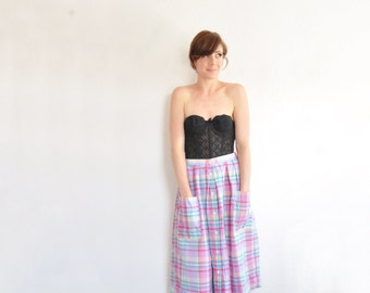 unicorn plaid folk skirt . high waist bucket pocket rainbow tartan cloth .medium