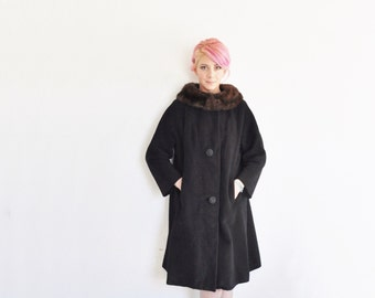 fur trimmed mod swing coat . 1960 black brown winter overcoat .medium .sale
