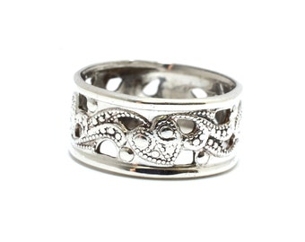 Art Deco Sterling Filigree Band - Size 5