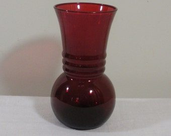 Vintage Anchor Hocking Royal Ruby Red Glass Vase