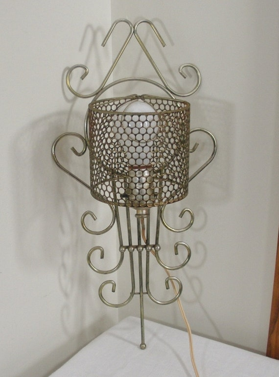Vintage Metal Wire Wall Lamp with Metal Mesh Shade