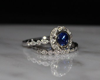 14K WG 1.0ct Sapphire and .25 Diamond Engagement/Wedding Set, Free Appraisal/Shipping