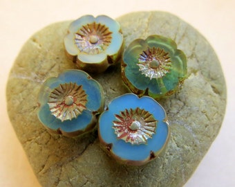 NEW PACIFIC OPAL Blossoms . Czech Pressed Glass Flower Beads . 13 mm (5 beads)