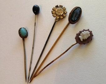 Hat Pins/Stick Pins Lot Cameo Rhinestone Blue Lavender Black