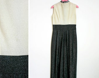 Vintage 1970s Black White and Silver Sleeveless Turtle Neck Maxi Dress Size 12