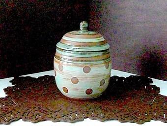 STONEWARE CANISTER,COOKIE Jar, Kitchen Storage, Jar, Stoneware Jar