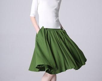 green skirt, pleated skirt, knee length skirt, midi skirt with pockets, linen skirt, womens skirts, high waisted skirt, custom skirt 1188