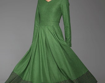 Winter dress, womens dresses, green dress, fit and flare dress, wool dress, houndstooth dress, sweetheart neckline dress, gift (1449)