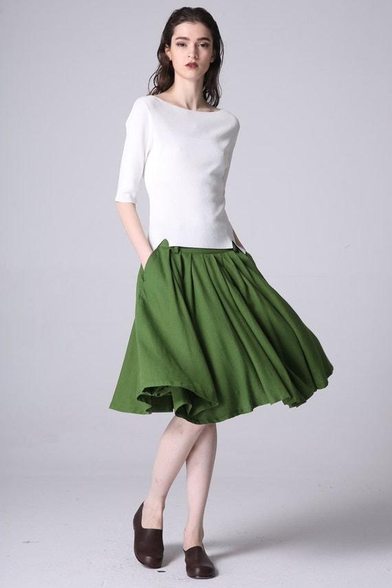 green linen midi skirt midi length length skirt