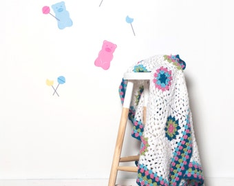 Nursery Wall Decals - Candy Gummy Bear Lollipop Removable Fabric Vinyl Kids Playroom Nursery Sticker Wall Art Repositionable