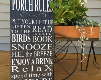porch rules sign, porch sign, wood sign, rules sign, porch decor, wood porch sign, rules wood sign, country decor, rustic sign