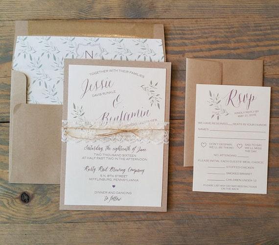 rustic wedding invitation, vintage wedding invitation, lace wedding invitation, kraft wedding invitation, simple wedding invitation