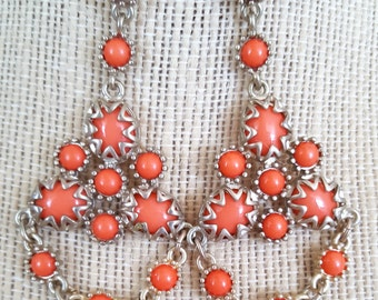 SALE>>>Gorgeous Summertime Coral Gold Tone Long Chandelier Earrings. Perfect Jewelry Gift. Gift for her. ETSY Gift